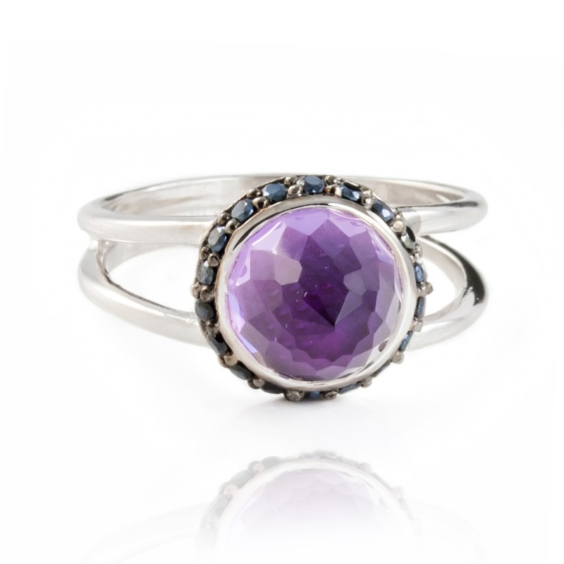 Istanbul Charm Amethyst and Black Spinel Ring in Sterling Silver