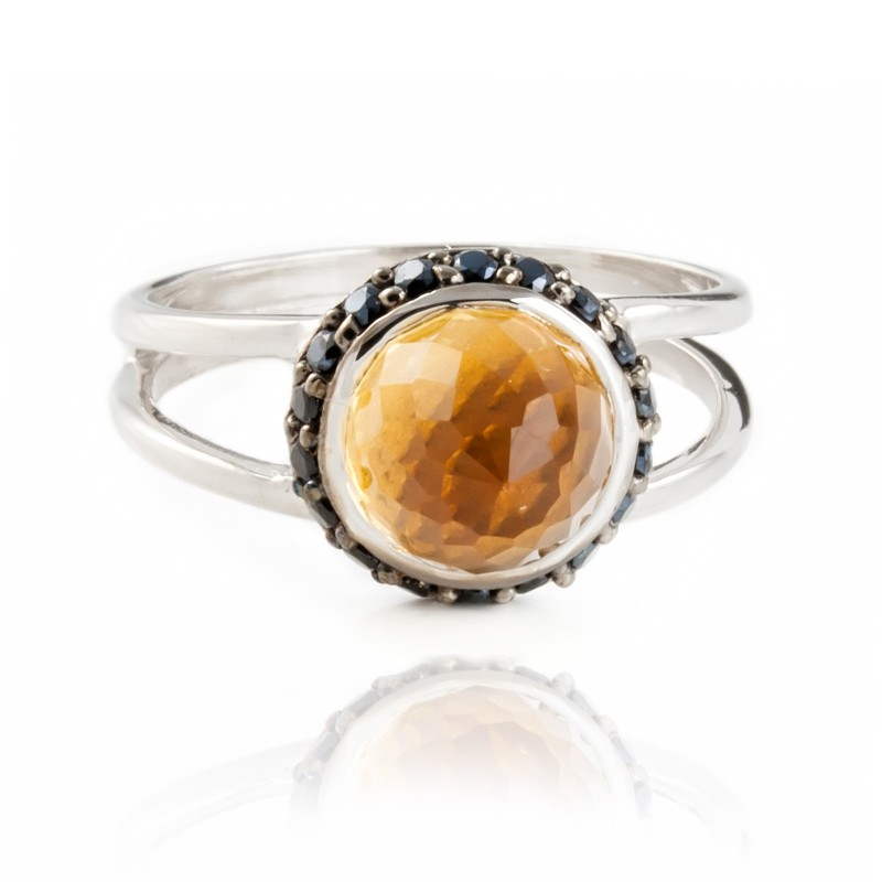 Istanbul Energy Citrine and Black Spinel Ring in Sterling Silver