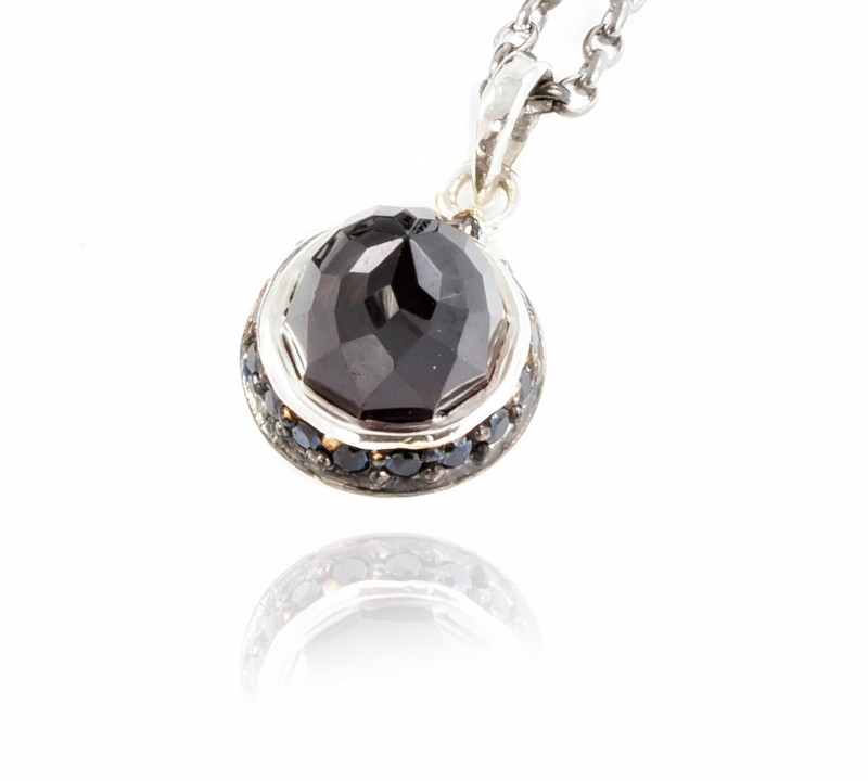 Istanbul Night Garnet and Black Spinel Pendant Necklace in Sterling Silver