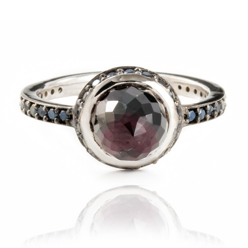 Istanbul Night Garnet and Black Spinel Ring in Sterling Silver