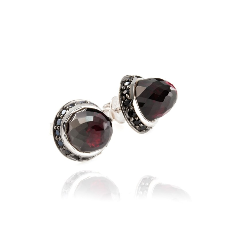 Istanbul Night Garnet and Black Spinel Studs in Sterling Silver
