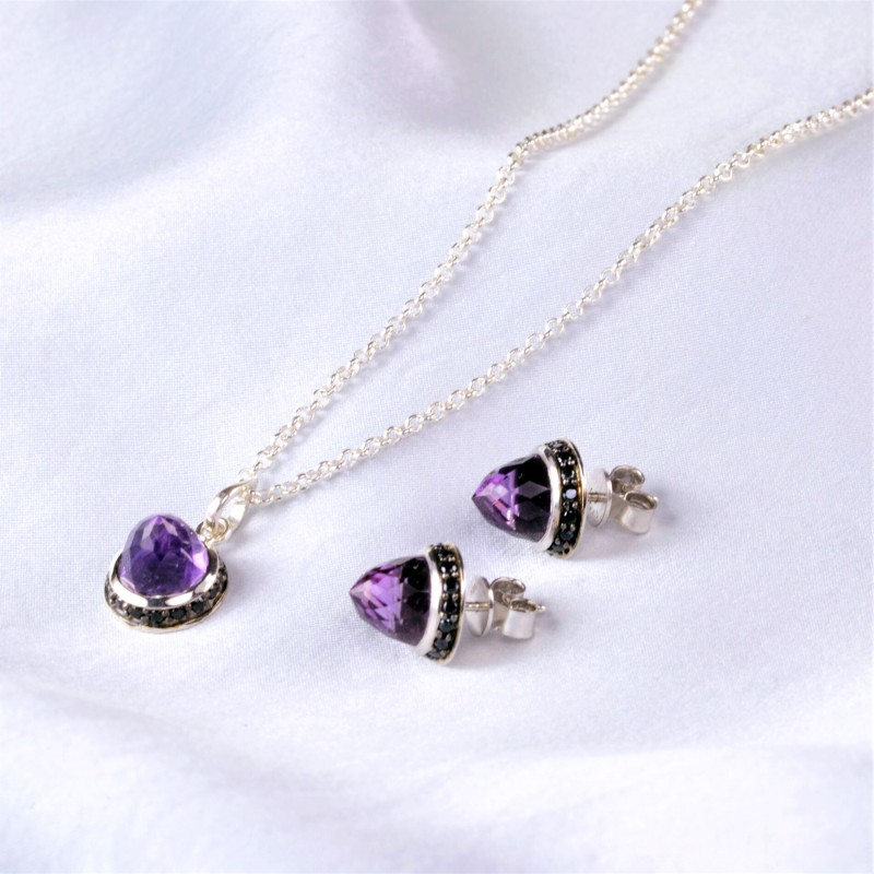 Istanbul Secret Amethyst and Black Spinel Jewellery Set in Sterling Silver
