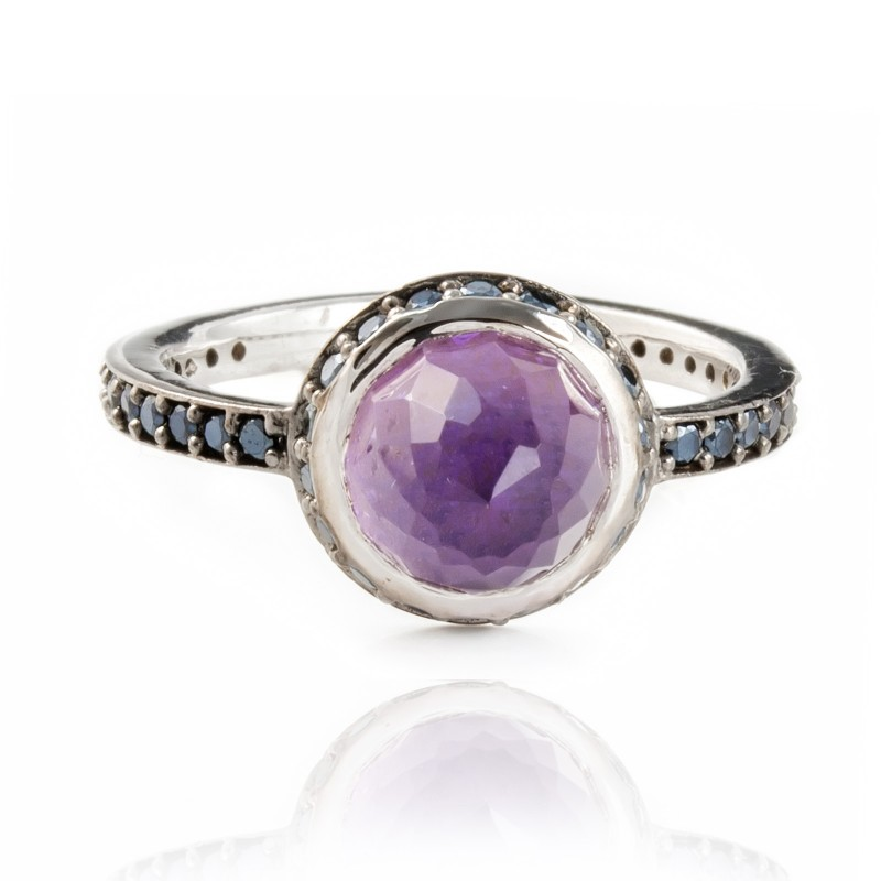 Istanbul Secret Amethyst and Black Spinel Ring in Sterling Silver