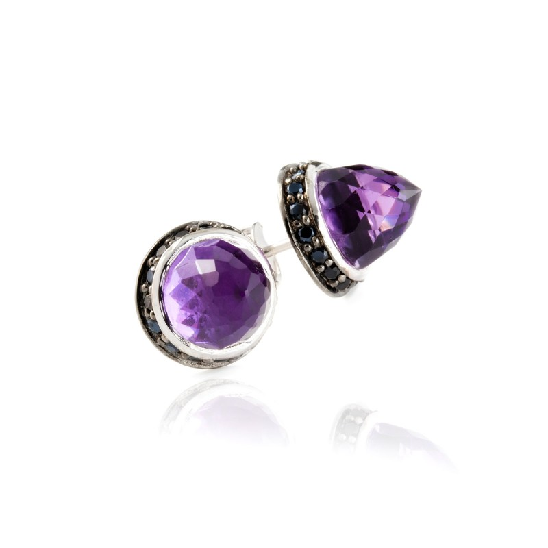 Istanbul Secret Amethyst and Black Spinel Studs in Sterling Silver