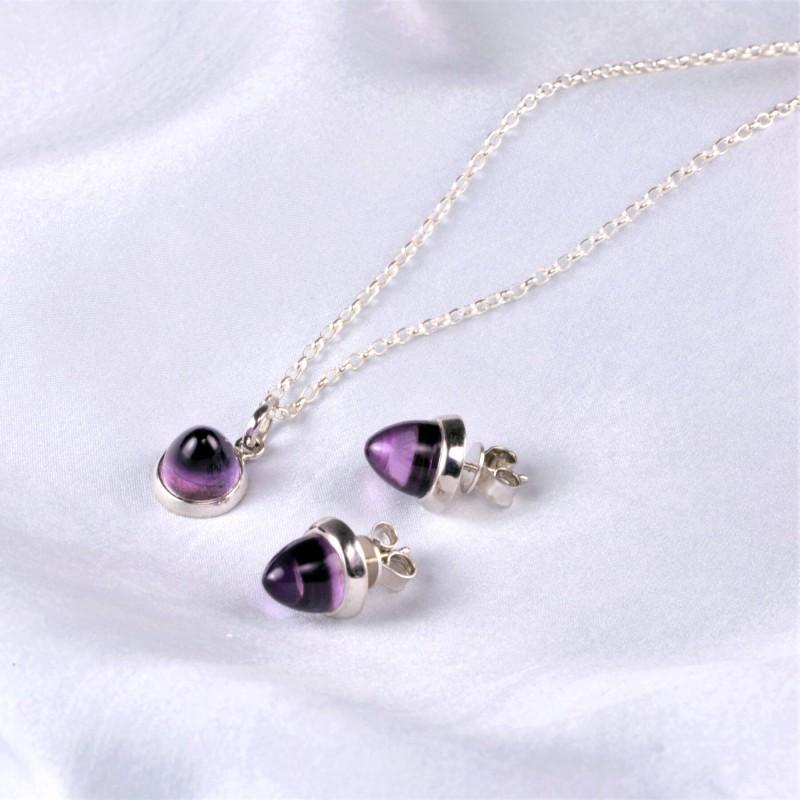 Istanbul Silk Amethyst Jewellery Set in Sterling Silver