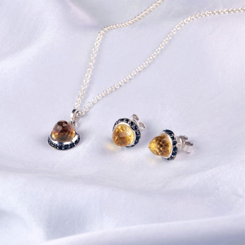 Istanbul Soul Citrine and Black Spinel Jewellery Set in Sterling Silver