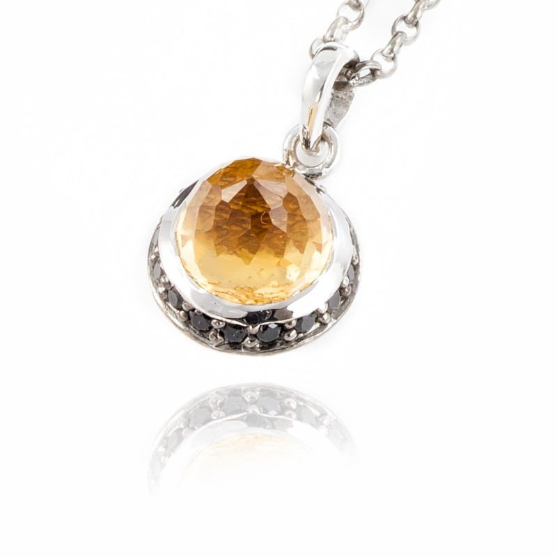 Istanbul Soul Citrine and Black Spinel Pendant Necklace in Sterling Silver