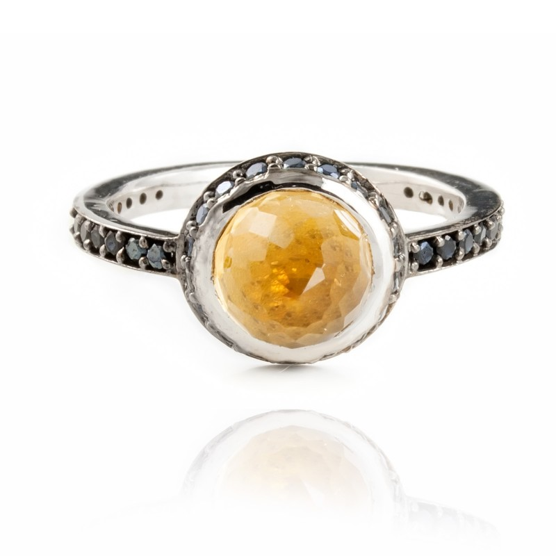 Istanbul Soul Citrine and Black Spinel Ring in Sterling Silver