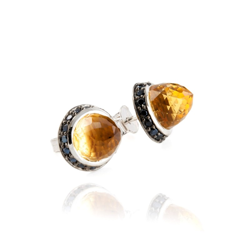 Istanbul Soul Citrine and Black Spinel Studs in Sterling Silver