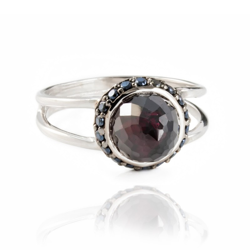 Istanbul Vibe Garnet and Black Spinel Ring in Sterling Silver