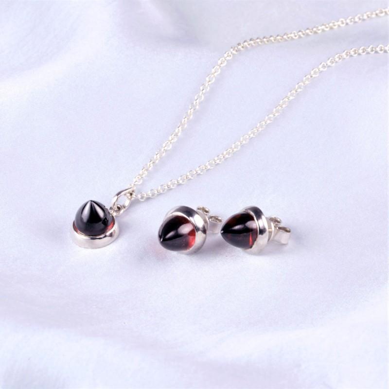 Istanbul Wine Garnet Jewellery Set in Sterling Silver