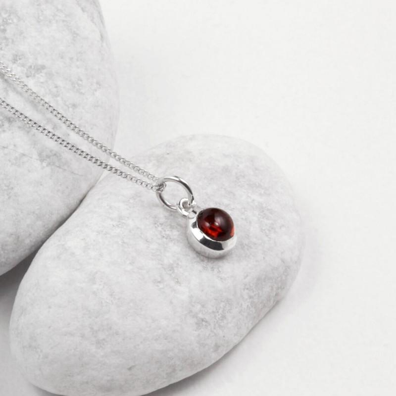 January Birthstone Necklace - Garnet Gemstone Charm in Sterling Silver