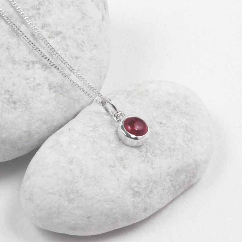 July Birthstone Necklace - Ruby Gemstone in Sterling Silver
