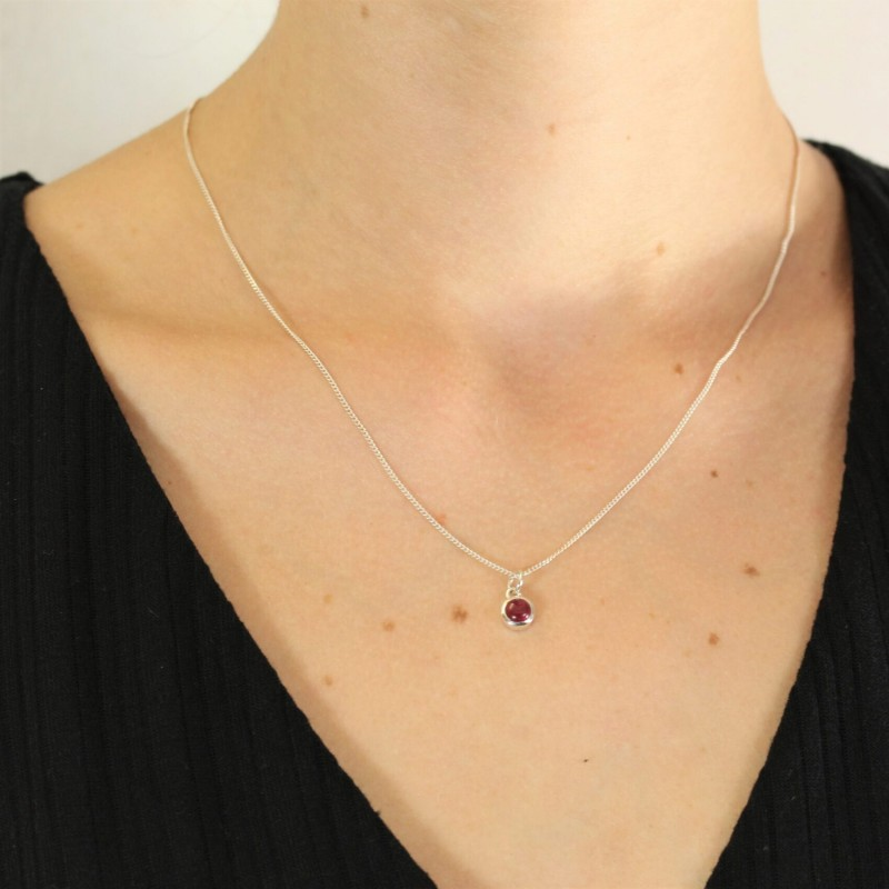 July Birthstone Necklace - Ruby Gemstone in Sterling Silver 2