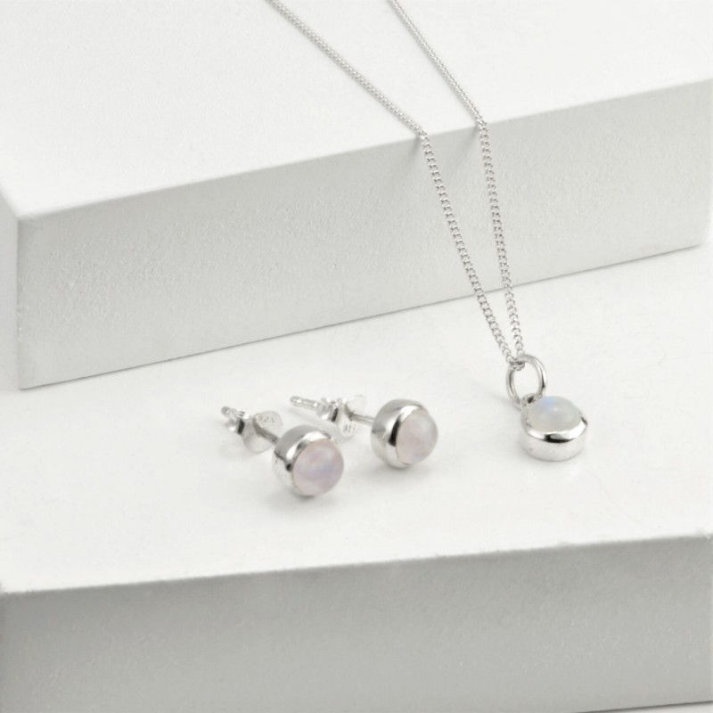 June Birthstone Jewellery Set in Moonstone - Studs and Pendant Necklace