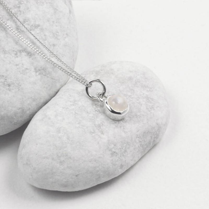 June Birthstone Necklace - Moonstone Gemstone Charm in Sterling Silver