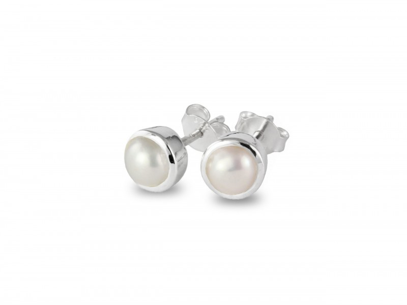 June Birthstone Stud Earrings – Pearl Gemstone in Sterling Silver