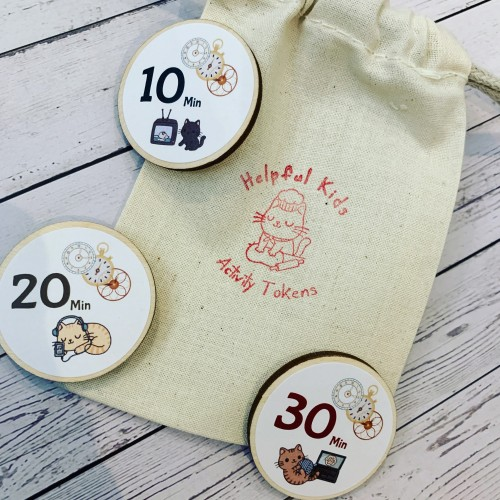 Kids Screen Time Wood Magnet Tokens -Child earns tech electronic devices time
