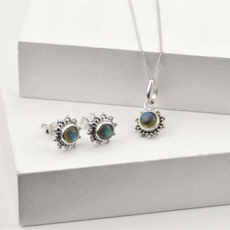 Labradorite Star Motif Jewellery set in 925 Sterling Silver
