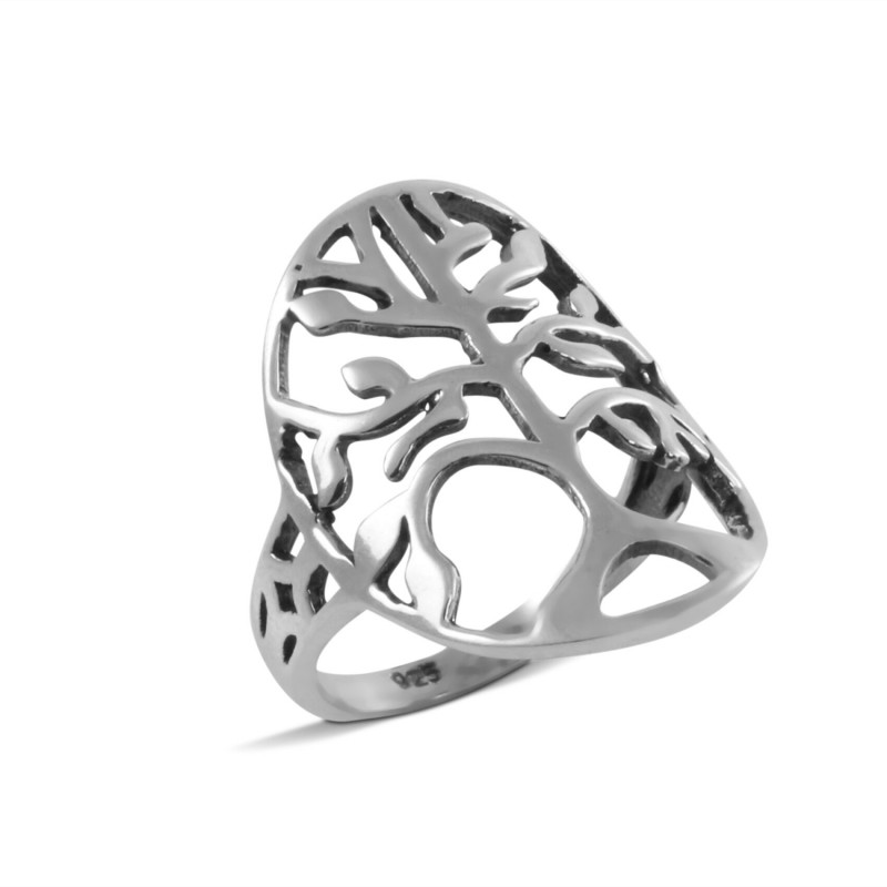 Large Oval Open Tree of Life Ring in Sterling Silver
