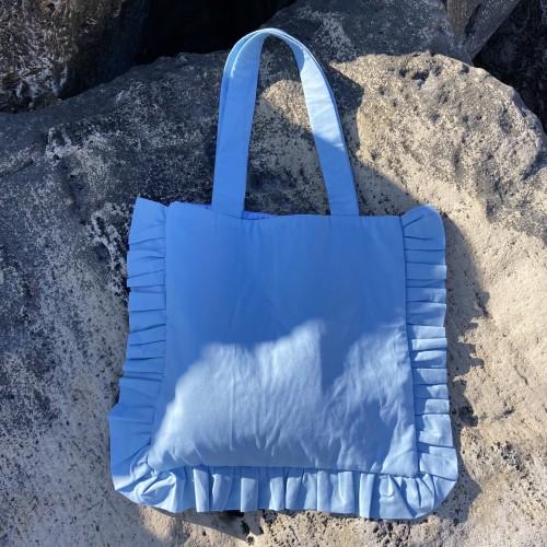 Blue Large Ruffle Bag