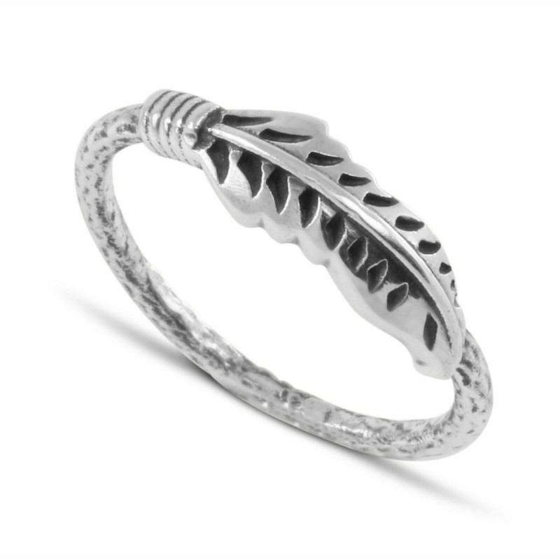 Leaf and a Twig Ring in Sterling Silver, minimal oxidised