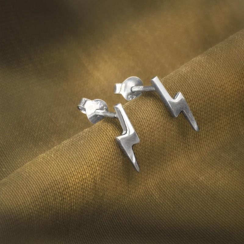 Lightning Bolt Studs in Sterling Silver 2