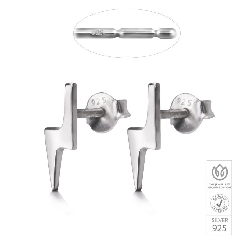 Lightning Bolt Studs in Sterling Silver 3