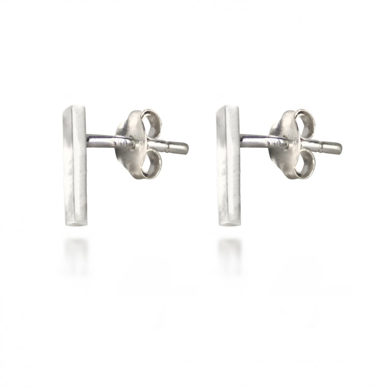Long Bar Studs with Butterfly Fastening in Sterling Silver