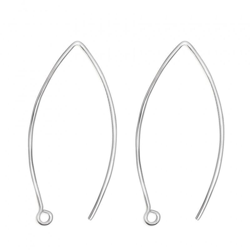 Long Wire Hook Earring Findings in 925 Sterling Silver - 30mm