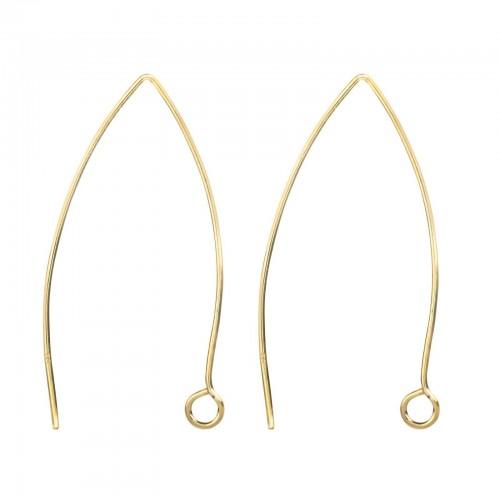 Long Wire Hook Earring Findings in Gold Vermeil- 40mm