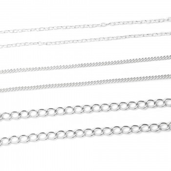 Loose Chain 1 meter in Sterling silver: Extension, Curb and Link