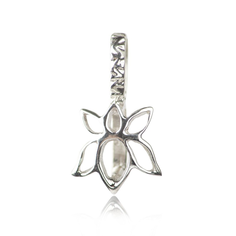 Lotus Flower Pendant Pinch Bail in Sterling silver 1