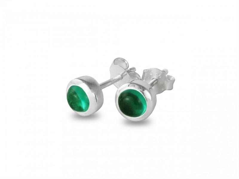 May Birthstone Earring Studs – Emerald Gemstone in Sterling Silver