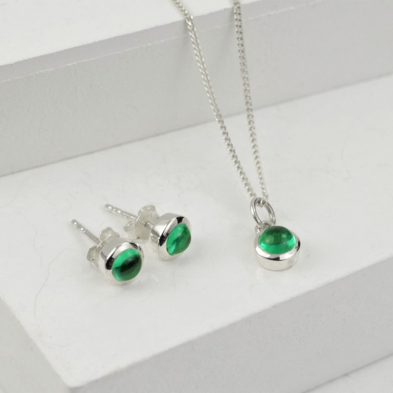 May Birthstone Jewellery Set in Emerald Gemstone - Studs and Pendant Necklace