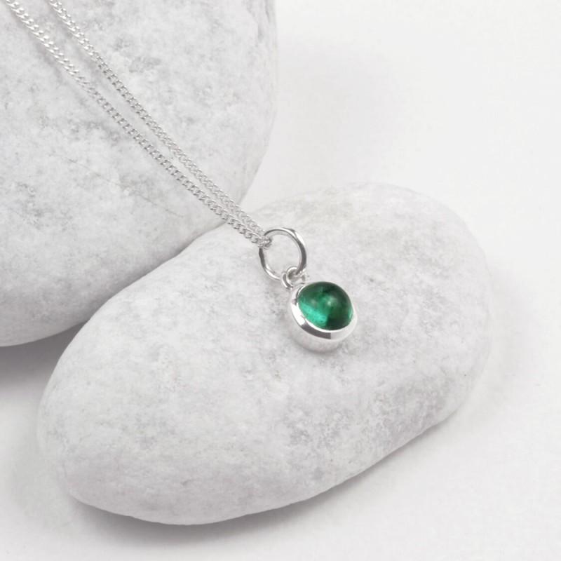 May Birthstone Necklace - Genuine Emerald Gemstone Charm in Sterling Silver