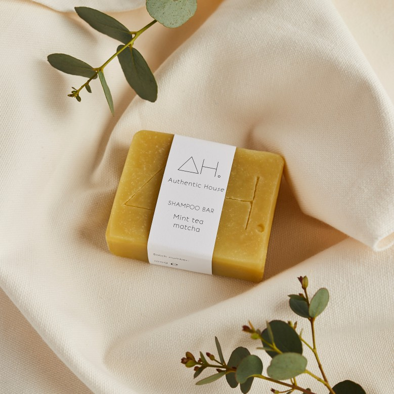 Mint tea matcha shampoo bar