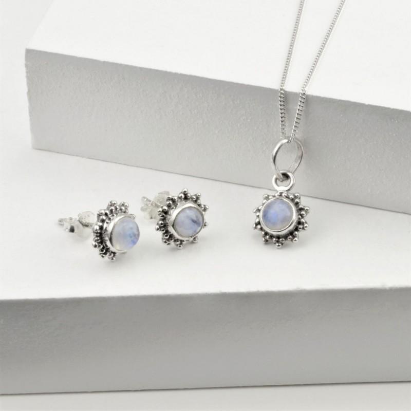 Moonstone Star Motif Jewellery set in 925 Sterling Silver