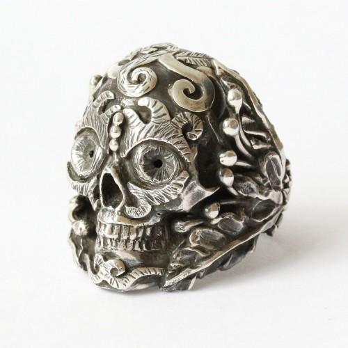 Mystic Double Trident Skull Ring