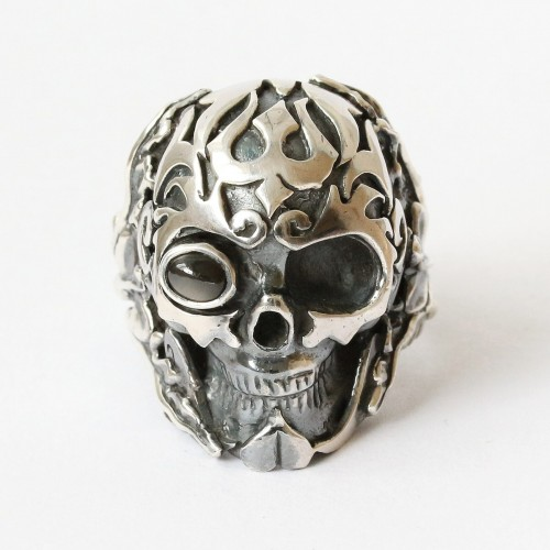 Mystic Earth Power Skull Ring with Black Star or Star Diopside