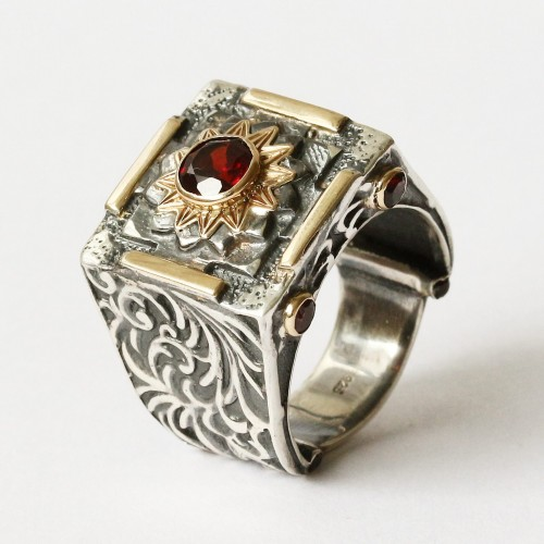 Mystic Fire Ring with Garnet