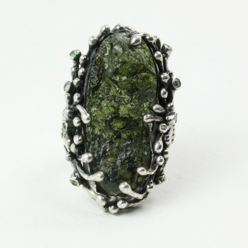 Mystic Forest Ring with Moldavite and Peridot in Sterling Silver
