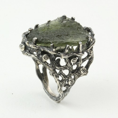 Mystic Oasis Ring with Moldavite and Rose Cut Diamonds