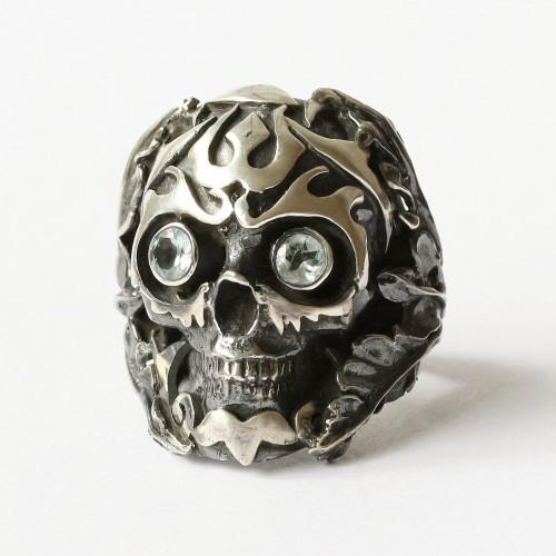 Mystic Power Skull Ring with Blue Topaz