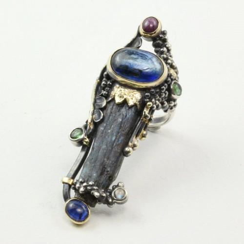 Mystic Revelation Ring Kyanite, Sapphire, Ruby, Peridots and Moonstone
