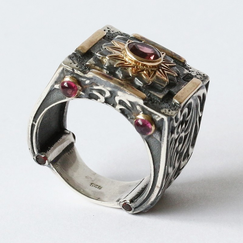 Mystic Royal Mandala Ring with Faceted Pink Tourmaline 2