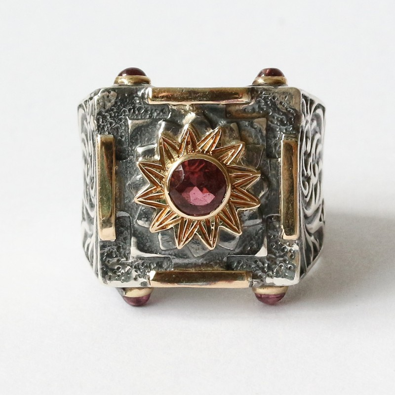 Mystic Royal Mandala Ring with Faceted Pink Tourmaline 3