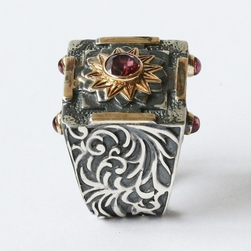Mystic Royal Mandala Ring with Faceted Pink Tourmaline 4