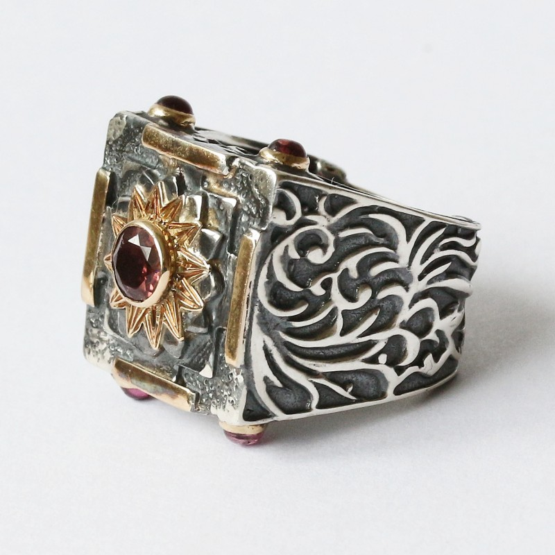 Mystic Royal Mandala Ring with Faceted Pink Tourmaline 5