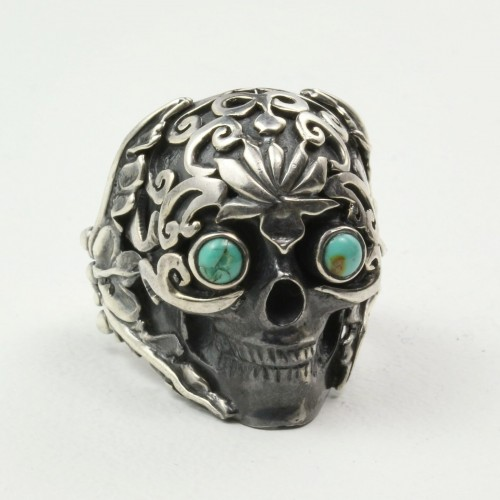Mystic Sky Skull Ring with Turquoise in Sterling Silver